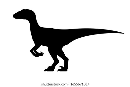 Velociraptor silhouette. Vector illustration black silhouette raptor dinosaur isolated on white background. Dinosaur logo icon, side view profile.