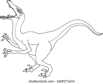 Velociraptor. Small fast dinozaur in cartoon style. Outline vector animal isolated, on a white background. Hand drawing coloring book for adults and children. For  magazines, prints on clothes.