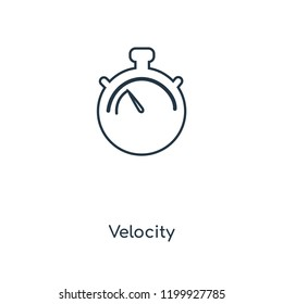 Velocity concept line icon. Linear Velocity concept outline symbol design. This simple element illustration can be used for web and mobile UI/UX.
