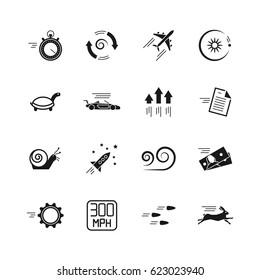 Velocity, speed and performance vector icons isolated on white background