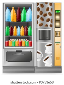 vending coffee and water is a machine vector illustration