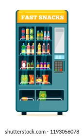 vending machine. automat for sale unhealthy food snack crisp crackers chocolate candy bars and cold drinks in plastic bottles vector flat illustration isolated
