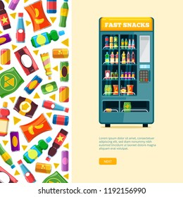 vending machine background. automatic sale of snack unhealthy food chips, crackers, chocolate candy bars, and cold drinks in plastic bottles. vector flat illustration for personal design project.