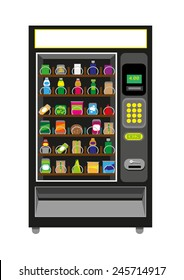 Vending Machine Black color. Isolated on white background. Editable Clip Art.