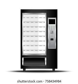 Vending machine of food and beverage automatic selling., Vector, Illustration.