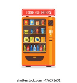 Vending Machine with Food and Drink, Soda, Snacks and Eat Packaging Set. Flat Design Style. Vector illustration of Vintage Machine Vending Orange. Automatic Colorful Vending Machine for Sale Isolated.