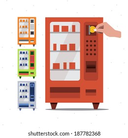 Vending machine and hand coin - vector