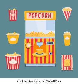 Vending machine for making and selling popcorn. A set of packing boxes for popcorn. Vector illustration.