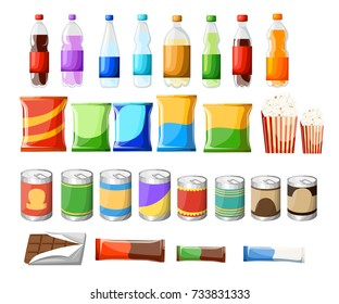 Vending machine product items set. Vector flat illustration. Food and drinks design elements isolated on white background. Fast food snacks and drinks flat icons. Snack pack set stock vector design.