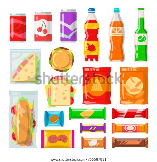 Distributeurs automatiques de produits. Collations savoureuses, boissons, boissons à la machine automatique. Image vectorielle illustration dessinée à plat isolée sur fond blanc