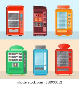 Vending machine set isolated vector illustration. Cold drink, snack, chips, fast food, coffee and ice cream automatic seller. Colorful vending machine front view with empty shelves in flat design