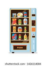 Vending machine. Snack crackers junk food soda drinks saling in vending automat vector cartoon collection. Vending automatic machine with snack and drink illustration