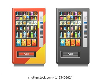 Vending machine. Snacks sandwich biscuit chocolate drinks juice beverages pack, sale retail mechanism, flat food for bar or pub trading digital isolated industrial vector illustration