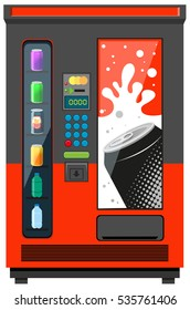Vending machine with soft drinks illustration