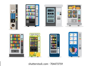Vending machines set. Juice and ice cream and more.