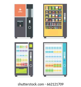 Vending machines with snacks, soda and coffee. Vector illustration