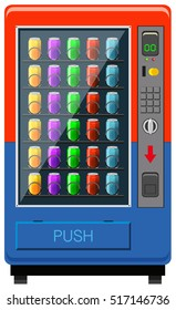 Vending maching in red and blue color illustration