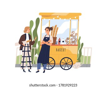 Vendor and customer having friendly conversation at bakery booth vector flat illustration. Guy seller working at bakeshop stall isolated. Man owner of small business street kiosk with snacks