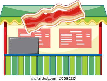 Vendor design at funfair with bacon and signs illustration