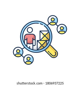 Vendor selection RGB color icon. Production distribution network, logistics. Market research, choosing supplier, product distributor. Isolated vector illustration
