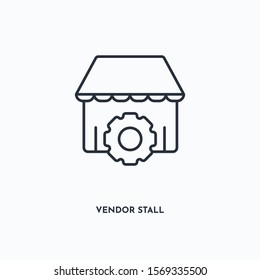 vendor stall outline icon. Simple linear element illustration. Isolated line vendor stall icon on white background. Thin stroke sign can be used for web, mobile and UI.