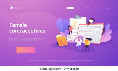 Venereal diseases, pregnancy prevention. Safe sexual behavior. Female contraceptives, oral hormonal contraception, birth fertility control concept. Website homepage header landing web page template.