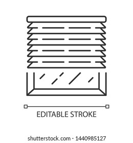 Venetian blinds linear icon. Window jalousie, treatments. Home interior design. Thin line illustration. Contour symbol. Kitchen, living room shutters. Vector isolated outline drawing. Editable stroke