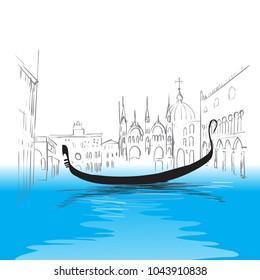 Venetian canal, gondola, illustration  vector