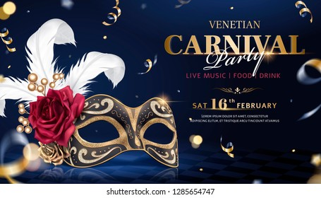 Venetian carnival banner with luxurious mask and streamers in 3d illustration