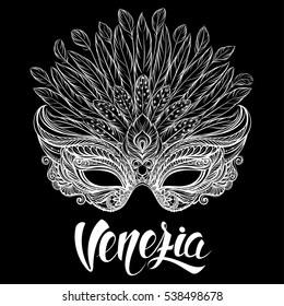 Venetian carnival mask with feathers. Black and white vector illustration with hand drawn lettering for t-shirt print, poster, greeting card, party invitation, banner, flyer or souvenir.