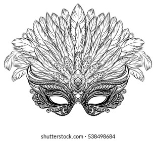 Venetian carnival mask with feathers. Black and white vector illustration for t-shirt print, poster, greeting card, party invitation, banner, flyer or souvenir.