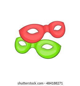 Venetian carnival mask icon in cartoon style isolated on white background vector illustration
