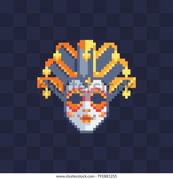 Venetian Carnival Masks Pixel Art Italy Stock Vector
