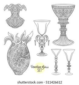 Venetian glasses and vase set. Outline hand draw. Vector illustration.
