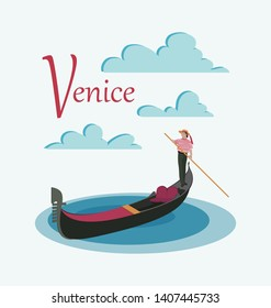 Venetian gondola and gondolier. Invitation to travel to Italy. Italian male profession. Design elements for tourist poster, textile. Image on white background.