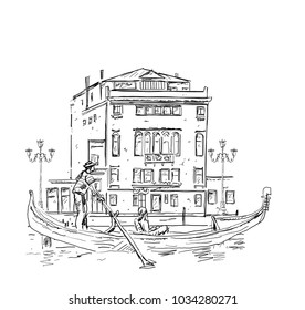 Venetian gondolier and building hand drawn sketch, for Venice travel business design
