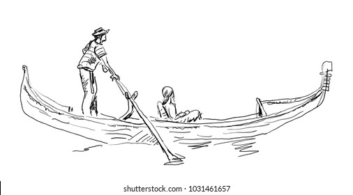 Venetian gondolier person hand drawn sketch, for Venice architecture elements and travel business  design