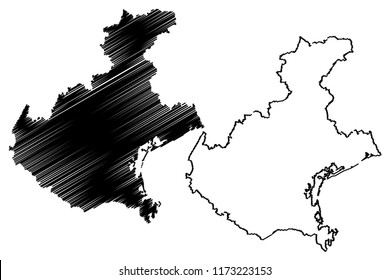 Veneto (Autonomous region of Italy) map vector illustration, scribble sketch Veneto map