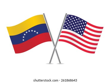 Venezuela and American flags. Vector illustration.