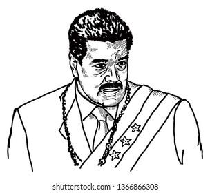VENEZUELA, April 5, 2019: Caricature of Venezuelan President Nicolas Maduro. Hand drawn vector illustration.