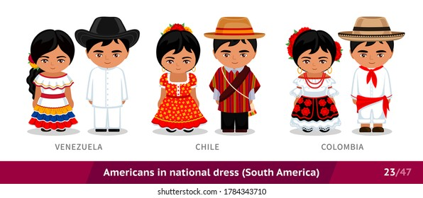 Venezuela, Chile, Colombia. Men and women in national dress. Set of latin americans wearing ethnic clothing. Cartoon characters in traditional costume. South America. Vector flat illustration.