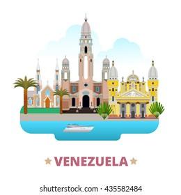 Venezuela country flat cartoon style historic sight web site vector illustration. World travel South America collection. National Pantheon of Venezuela La Chiquinquira Church Basilica Virgen Del Vall.