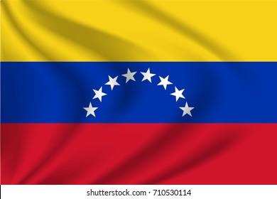 Venezuela flag background with cloth texture. Venezuela flag vector illustration.