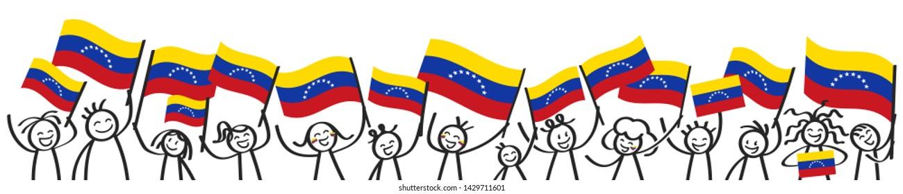 Venezuela flag, crowd of stick figures with Venezuelan national flags banner
