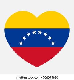 Venezuela flag in the heart, vector illustration.