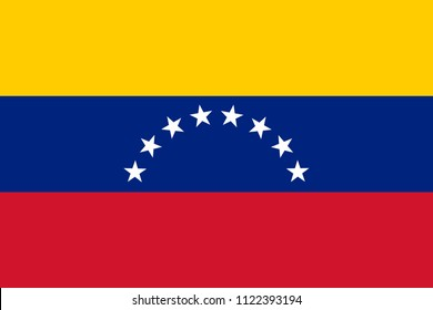 Venezuela flag with official colors and the aspect ratio of 2:3 .Accurate flat vector illustration.