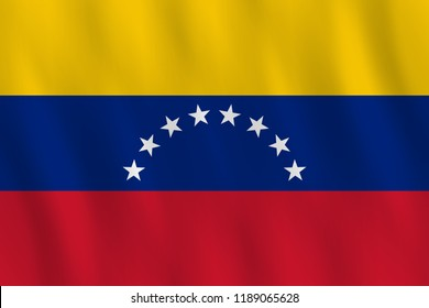 Venezuela flag with waving effect, official proportion.