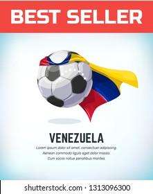 Venezuela football or soccer ball. Football national team. Vector illustration.