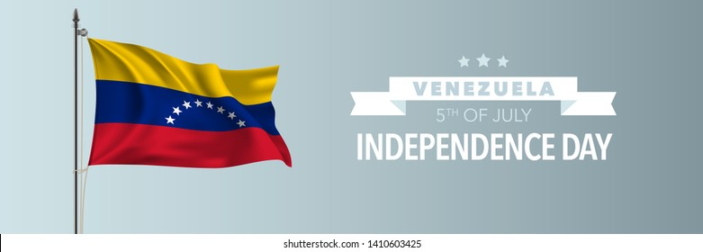 Venezuela happy independence day greeting card, banner vector illustration. Venezuelan national holiday 5th of July design element with waving flag on flagpole