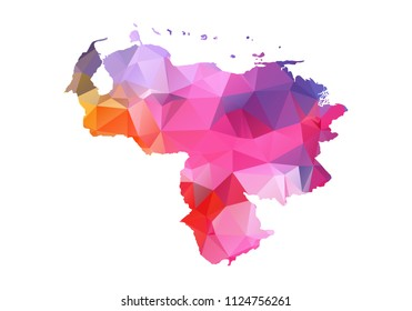 venezuela map blue vector illustration in polygonal style on white background. colorful abstract of venezuela map. Abstract tessellation,modern design background.